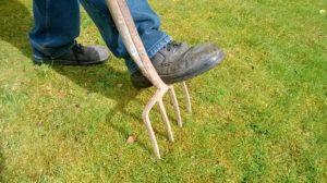 Rasen mit der Forke Lüften